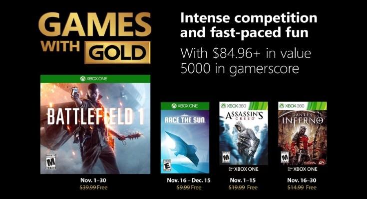 Divulgados os jogos do Games with Gold para Novembro de 2018!