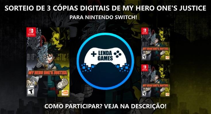 Sorteio de 3 Cópias Digitais de My Hero One's Justice para Switch!