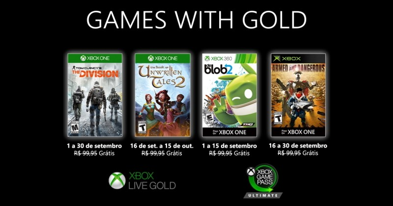 (GwG) Games with Gold: Jogos Grátis - Setembro de 2020 na Xbox Live!